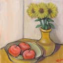 Still Life with Apples and Sunflowers